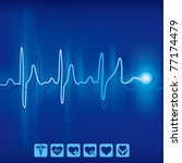 heartbeat ekg pulse tracing on... | Shutterstock .eps vector #77174479