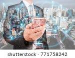 double exposure of businessman... | Shutterstock . vector #771758242