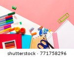 colorful school supplies top... | Shutterstock . vector #771758296