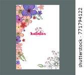 spring flowers  invitation card ... | Shutterstock .eps vector #771794122