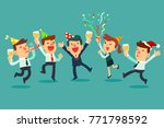 happy business team in the... | Shutterstock .eps vector #771798592