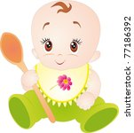little baby with spoon.... | Shutterstock . vector #77186392