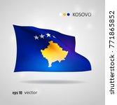 kosovo 3d style glowing flag...   Shutterstock .eps vector #771865852