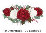 Stock vector vector floral bouquet design garden red burgundy rose flower white peony seeded eucalyptus 771885916