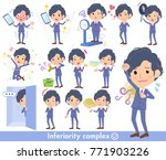 navy blue suit perm hair... | Shutterstock .eps vector #771903226