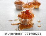 pouring maple syrup onto tasty... | Shutterstock . vector #771908236