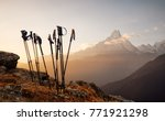 Group Of Trekking Sticks On A...