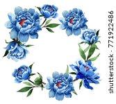 wildflower peony flower wreath... | Shutterstock . vector #771922486