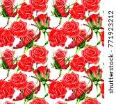 wildflower rose flower pattern... | Shutterstock . vector #771923212