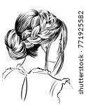 women's romantic braided... | Shutterstock .eps vector #771925582