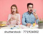 portrait of shocked terrified... | Shutterstock . vector #771926002