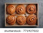 wooden tray with sweet cinnamon ... | Shutterstock . vector #771927022