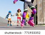 kids rollerblading in... | Shutterstock . vector #771933352