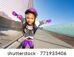 african girl in helmet... | Shutterstock . vector #771933406