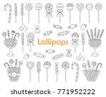 lollipop set vector hand drawn... | Shutterstock .eps vector #771952222