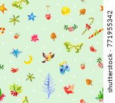 watercolor christmas green...   Shutterstock . vector #771955342