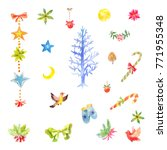 collection of little watercolor ... | Shutterstock . vector #771955348
