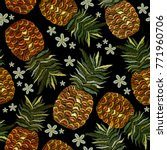 embroidery pineapple and...   Shutterstock .eps vector #771960706