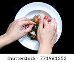 top view  chef hand perpraing... | Shutterstock . vector #771961252