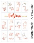 vector set of santa hats and... | Shutterstock .eps vector #771962302