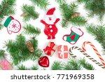 christmas background with fir... | Shutterstock . vector #771969358