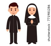 cute cartoon catholic priest... | Shutterstock . vector #771981286