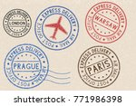 set of colored ink postmarks... | Shutterstock .eps vector #771986398