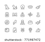 Stock vector simple set of pet related vector line icons contains such icons as dog cat bird spider animal 771987472