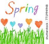 like kid s crayon drawn... | Shutterstock .eps vector #771994948
