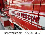 close up on fire and rescue... | Shutterstock . vector #772001332