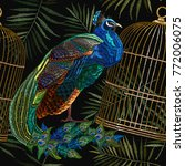 embroidery peacocks and birds... | Shutterstock .eps vector #772006075