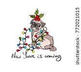 dog   pug. christmas garland.... | Shutterstock .eps vector #772021015