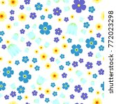 seamless pattern with forget me ... | Shutterstock .eps vector #772023298