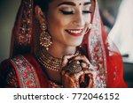 stunning indian bride dressed... | Shutterstock . vector #772046152