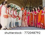 indian groom dressed in white... | Shutterstock . vector #772048792