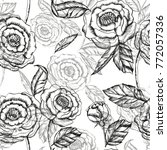 floral pattern ink hand drawn... | Shutterstock . vector #772057336