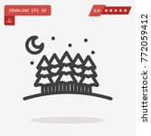 outline moon icon isolated on...