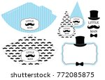 little man's printable hats.... | Shutterstock .eps vector #772085875