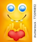 yellow smiley emticon cartoon... | Shutterstock .eps vector #772090852