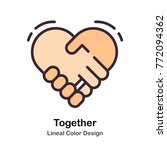 holding hands lineal color... | Shutterstock .eps vector #772094362