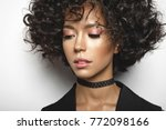 fashion studio portrait of... | Shutterstock . vector #772098166