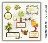 vector set of tree panels and... | Shutterstock .eps vector #77210383