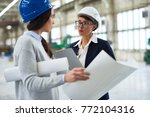 pretty young factory worker and ... | Shutterstock . vector #772104316