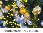 closed up of golden balls and... | Shutterstock . vector #772113286