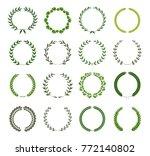 set of laurel wreaths. heraldic ... | Shutterstock .eps vector #772140802