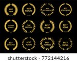 set of gold silhouette film... | Shutterstock .eps vector #772144216