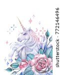 cute watercolor unicorn... | Shutterstock . vector #772146496