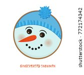 cute christmas snowman icon on... | Shutterstock .eps vector #772174342