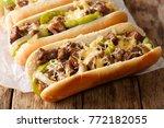 philly cheese steak sandwich... | Shutterstock . vector #772182055