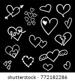 hand drawn hearts set isolated. ... | Shutterstock .eps vector #772182286